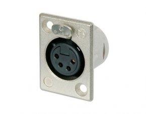Imagem - Conector XLR fêmea de painel com 4 pólos, contatos de prata para solda e caixa de níquel | Neutrik | NC4FP-1 - NC4FP1