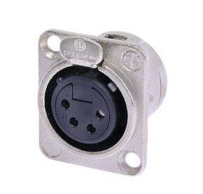 Imagem - Conector XLR fêmea de painel com 4 pólos para embutir, contatos de prata para solda e caixa de níquel | Neutrik | NC4FDL-1 - NC4FDL1