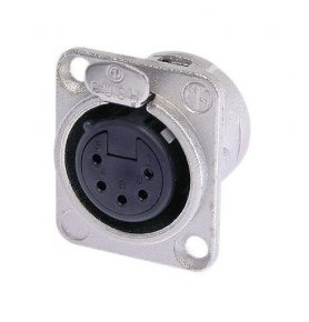 Imagem - Conector XLR fêmea de painel com 5 pólos para embutir, contatos de prata para solda e caixa de níquel | Neutrik | NC5FDL-1 - NC5FDL1