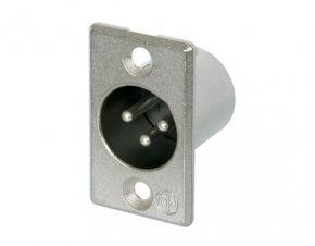 Imagem - Conector XLR macho de painel, 3 pólos, corpo de metal e tamanho D unificado | Neutrik | NC3MP - NC3MP