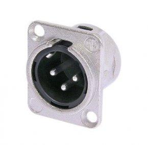 Imagem - Conector XLR macho de painel com 3 pólos para embutir, contatos de prata para solda e caixa de níquel | Neutrik | NC3MDL-1 - NC3MDL1
