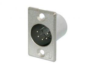 Imagem - Conector XLR macho de painel com 5 pólos, contatos de prata para solda e caixa de níquel | Neutrik | NC5MP - NC5MP