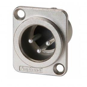 Imagem - Conector XLR macho de painel para embutir | Corpo de metal e contatos a níquel | Amphenol  | AC3MMDZ - AC3MMDZ