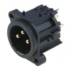 Imagem - Conector XLR macho vertical 3 pinos para PCB / PCI | Amphenol | AC3MAV-AU-B