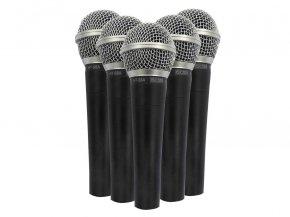 Imagem - Kit com 5 microfones dinâmicos cardioide de mão + maleta para transporte | CSR | KIT HT58A-5 - KITCSR58-5