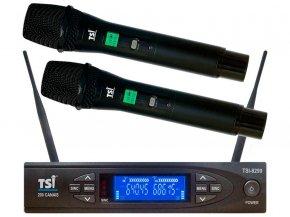 Imagem - Sistema de microfone sem fio duplo de mão com 200 canais UHF | TSI | 8299-UHF - 8299-UHF