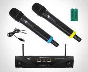 Imagem - Sistema de microfone sem fio UHF | 2 Microfones transmissores de mão | Bateria recarregável USB | UD-1500R-UFH | TSI