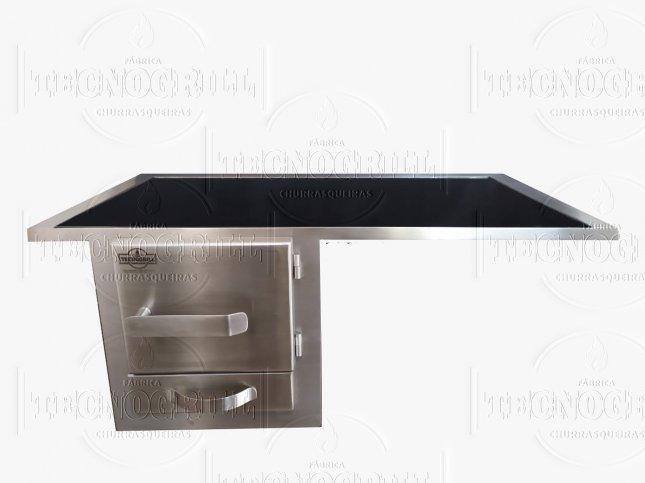 Fogão a lenha tecnogrill c/ chapa vitroceramica 79x48 c/ armação e porta em inox de embutir na alvenaria