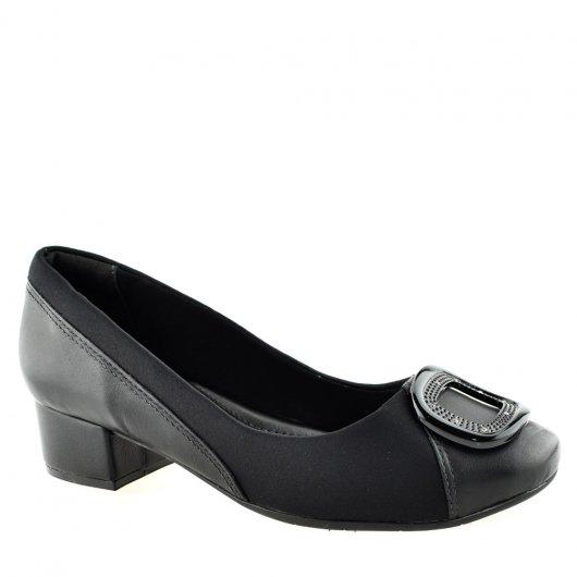 b351fd04ce Sapato Feminino Salto Baixo Joanetes ComfortFlex 1895305 Preto ...