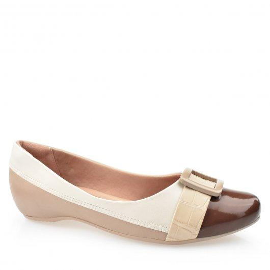 Sapato Feminino Bicolor Conforto Salto Interno ComfortFlex 1984304