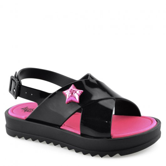 7d11417958 Sandália Larissa Manoela Flat Power Fashion 21631 - 25 ao 35 Preto ...