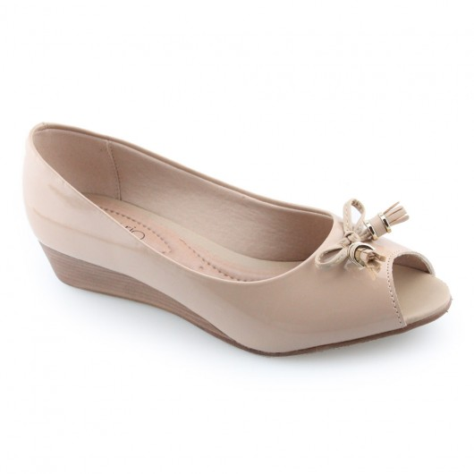 Sapato Peep Toe Anabela Beira Rio - 4796104 -
