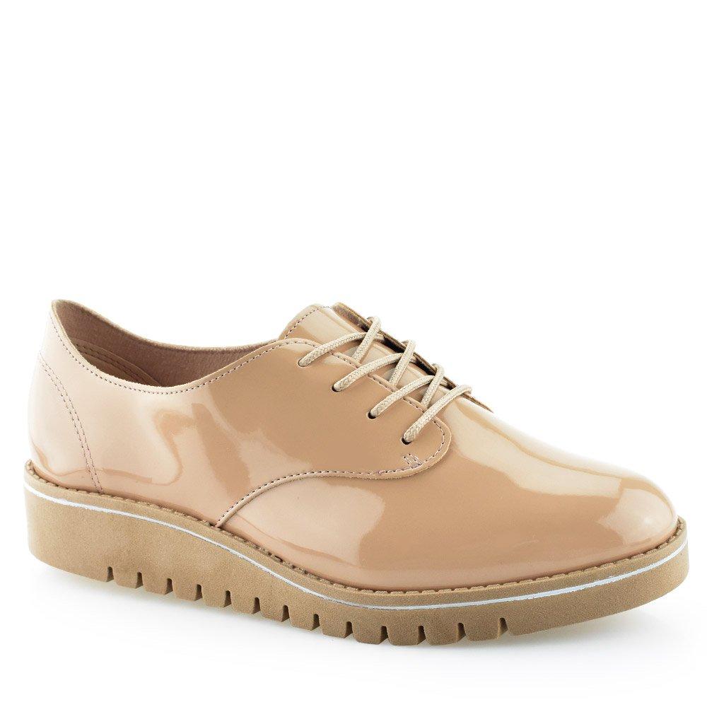 a74260900e Sapato Feminino Oxford Tratorado Beira Rio 4174419 Verniz Bege-crepe ...