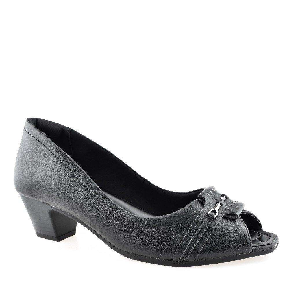a2bd66f31 Peep Toe Salto Baixo ComfortFlex 1864304 Preto | Godiva Calçados