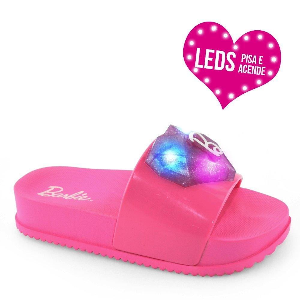 efcd5ba42 Chinelo Infantil Slide Barbie Love Led 21635 - 26 ao 34 Rosa Flor ...