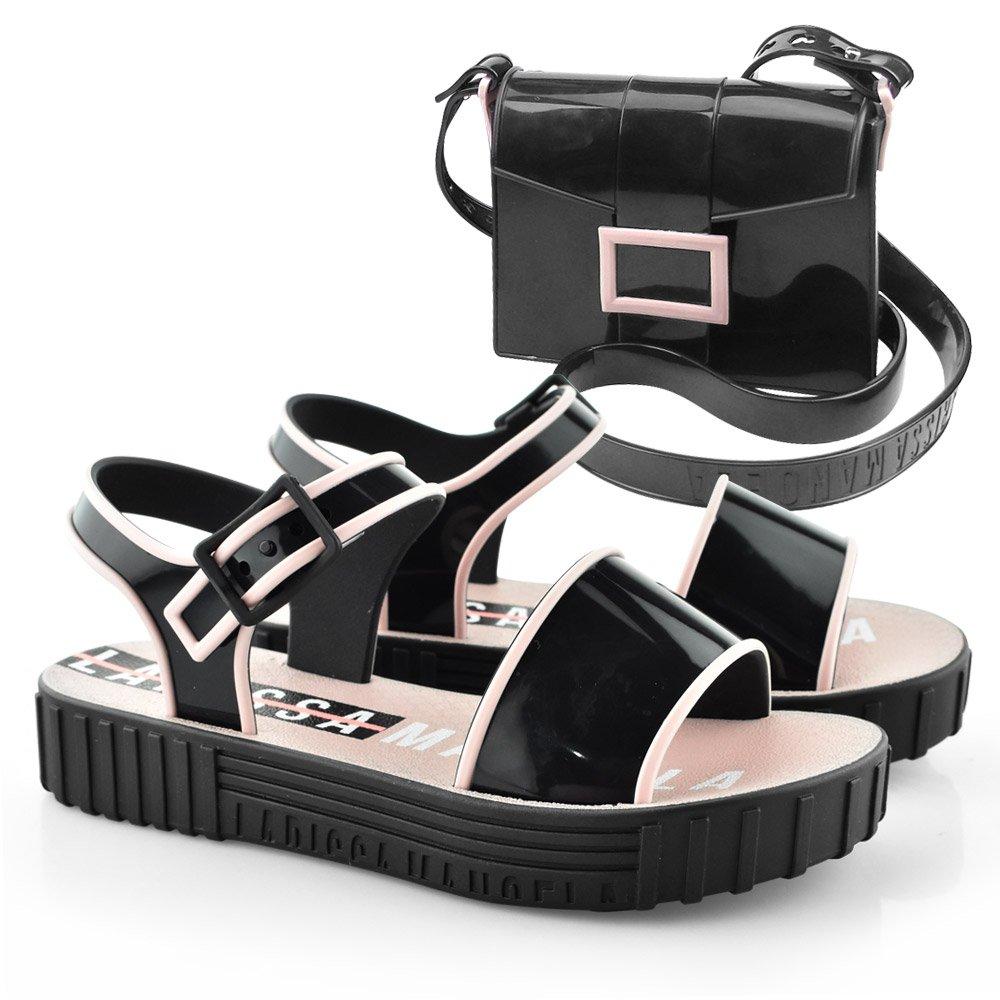 8c39479b22 Sandalia Infantil Larissa Manoela Fashion Bag 21897 - 26 ao 36 Preto ...