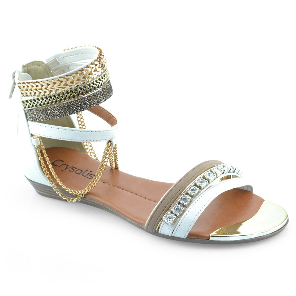 2998654a7 Sandalia Rasteira Crysalis - 4047/4355 Roma-off White   Godiva Calçados