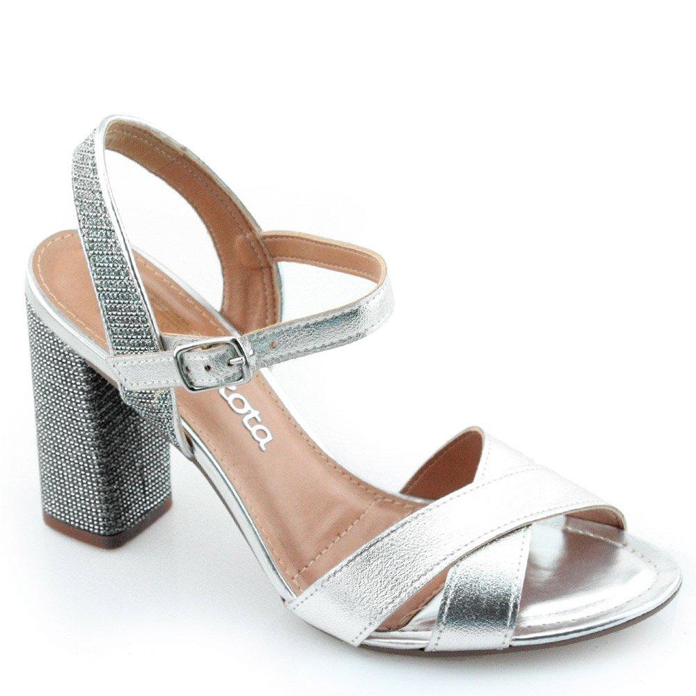 Sandalia Salto Alto Dakota Z1701 Prata
