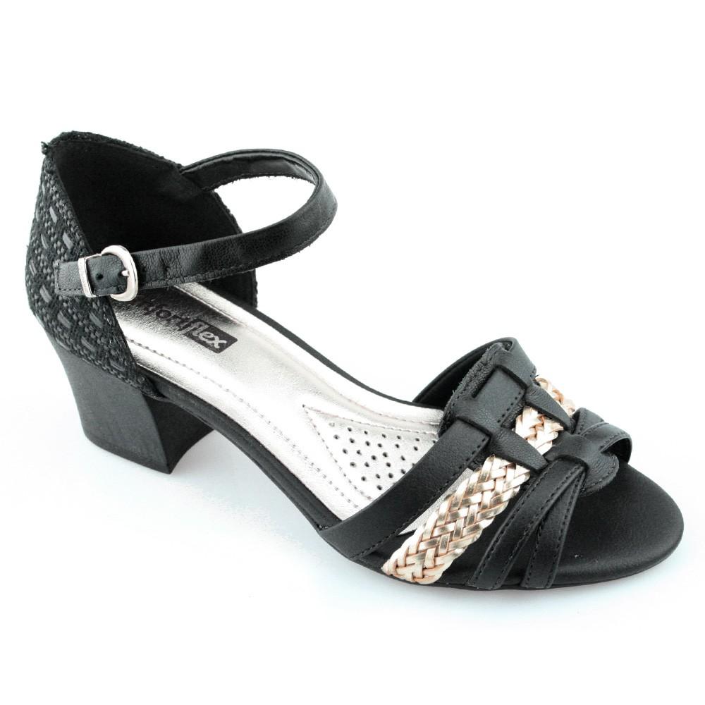 42e0d0e98 Sandalia Salto Medio ComfortFlex - 1671403 - Preto   Godiva Calçados