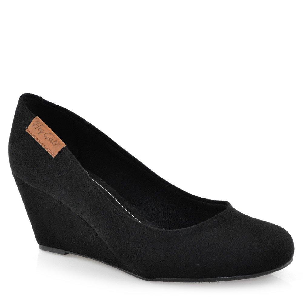 b329904e8 Sapato Anabela Moleca - 5270725 Camurca Preto | Godiva Calçados