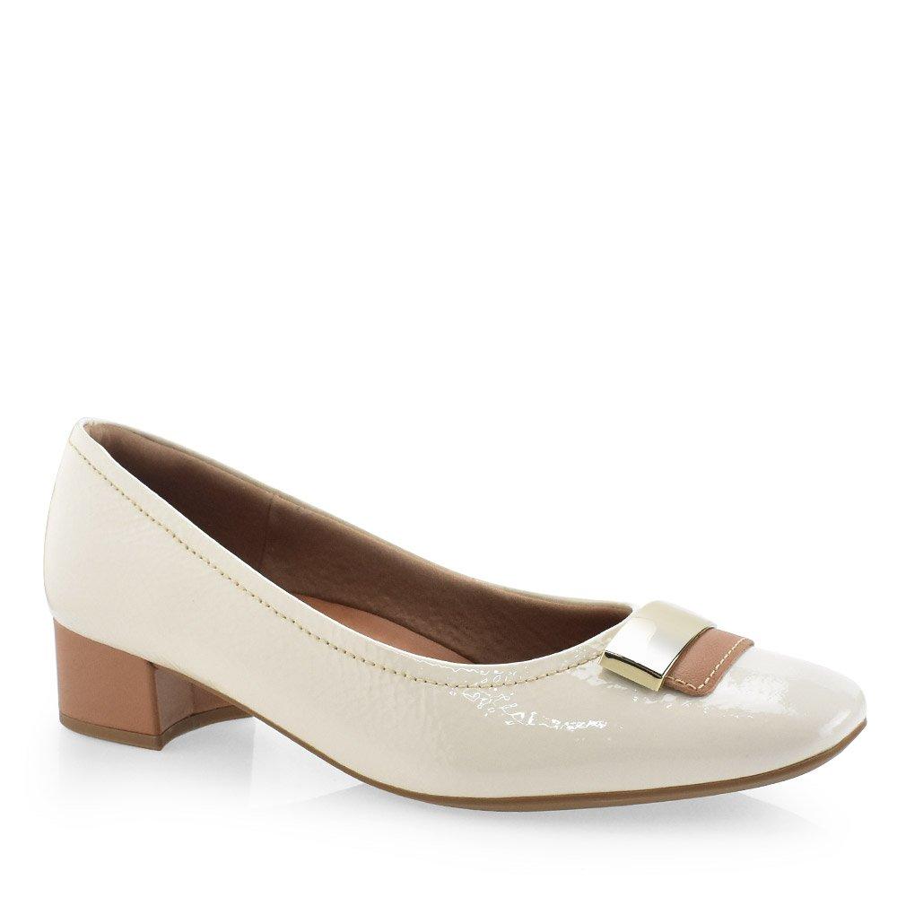 cc23967e0f Sapato Feminino Social Fivela Salto Baixo Usaflex AA2702 Off White ...