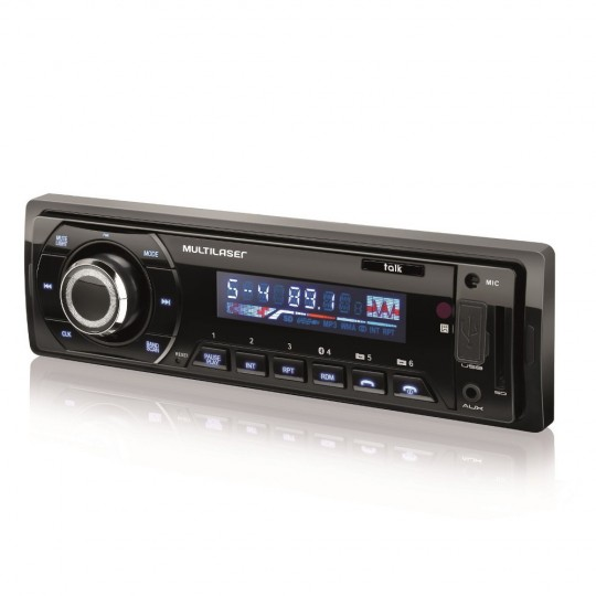 Som Automotivo Talk Multilaser Rádio FM Bluetooth Entradas USB SD e Auxiliar P3214