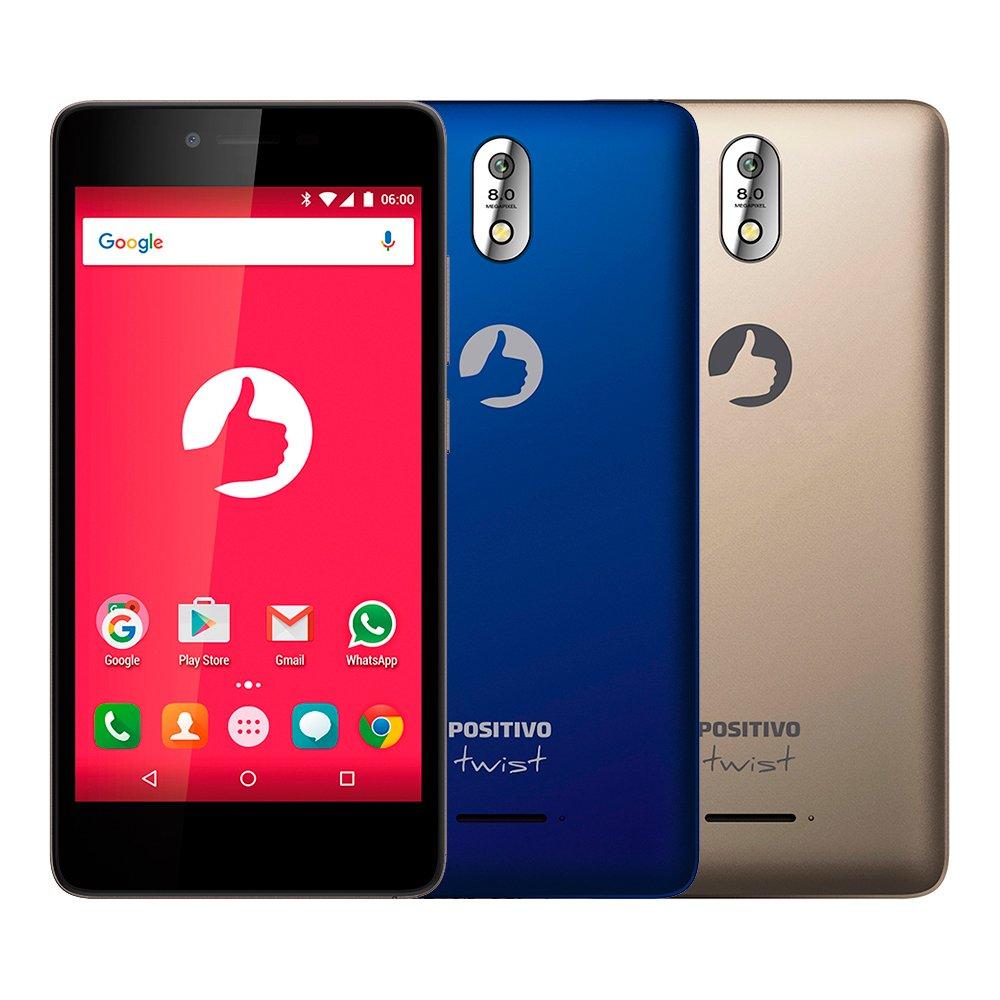 Smartphone Positivo Twist S520 S Dual Azul e Dourado Reembalado