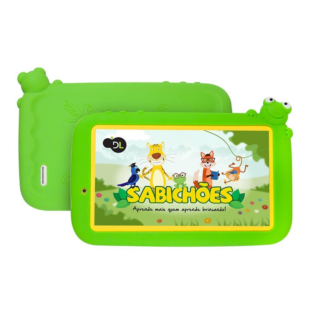 Tablet DL Sabichões Wi-Fi Quad Core 8GB Câmera 0.3MP Tela 7''  Branco/Verde TX386BVD