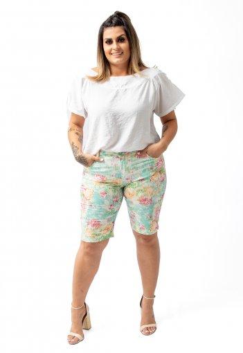 Bermuda Feminina Estampa Floral Com Lycra Plus Size