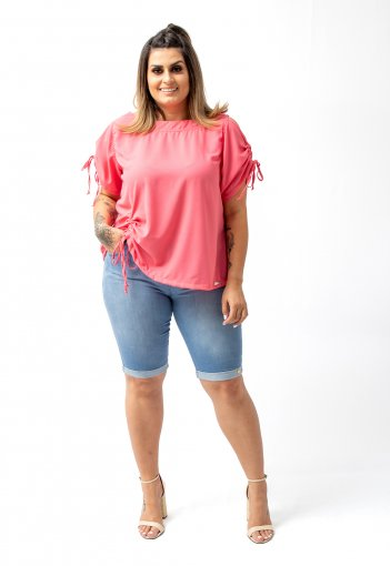 Bermuda Feminina Jeans Macio Tradicional com Elastano Plus Size