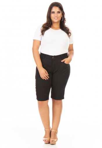 Bermuda Jeans Feminina Cintura Alta Básica Plus Size