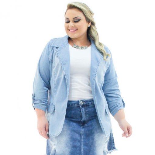 e1dea31a1 Blazer Jeans Feminino Alongado Aberto Plus Size Confidencial Extra