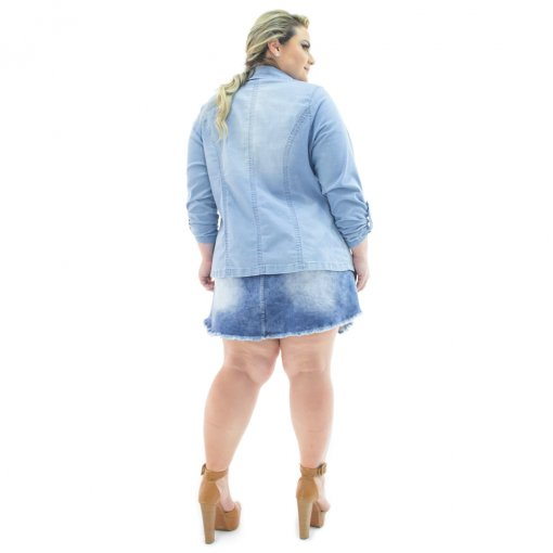 1c27f7f4b0 Blazer Jeans Feminino Alongado Aberto Plus Size Confidencial Extra