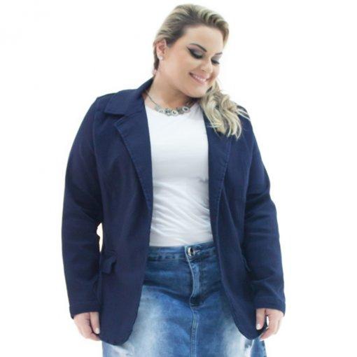 2ae614ef21 Blazer Jeans Feminino Alongado com Elastano Plus Size