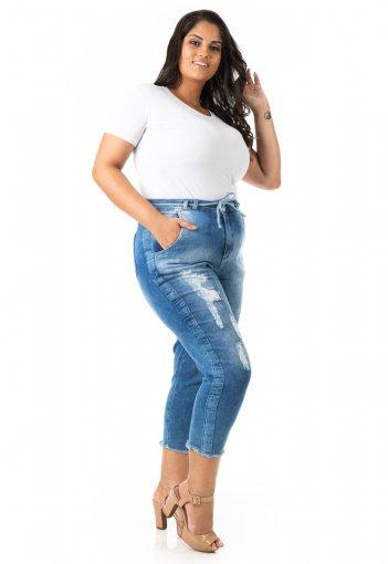 Calça Feminina Jeans Capri Jogger Plus Size