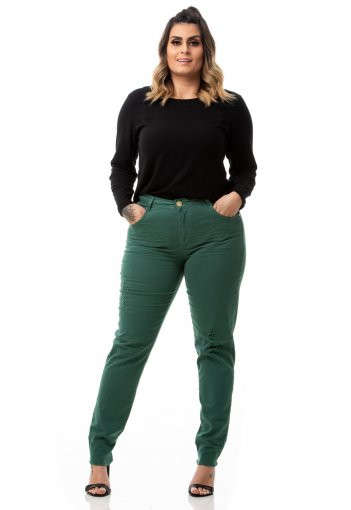 Calça Feminina Jeans Cigarrete Color Destroyed Plus Size
