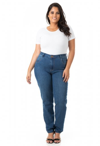 Calça Feminina Jeans Cigarrete com Lycra Plus Size