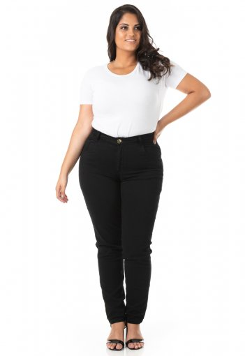 Calça Feminina Jeans Cigarrete Tradicional Plus Size