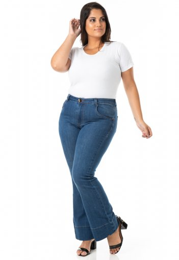 Calça Feminina Jeans Flare Tradicional Plus Size