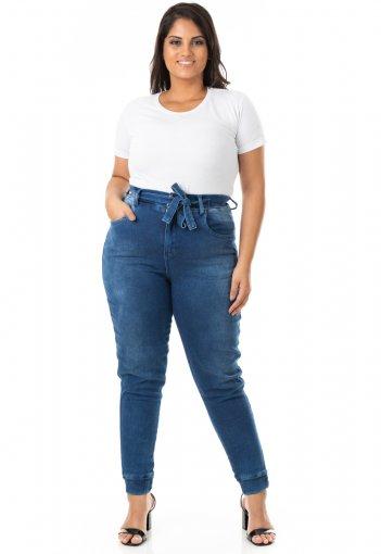 Calça Feminina Jeans Jogger com Lycra Plus Size