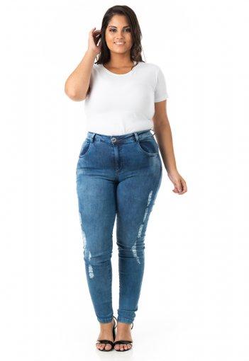 Calça Feminina Jeans Tradicional Skinny Plus Size