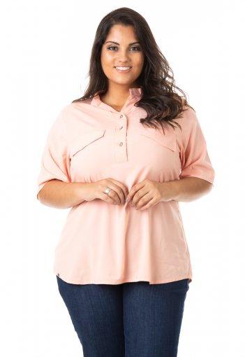 Camisa Feminina em Tricoline com Botões Plus Size