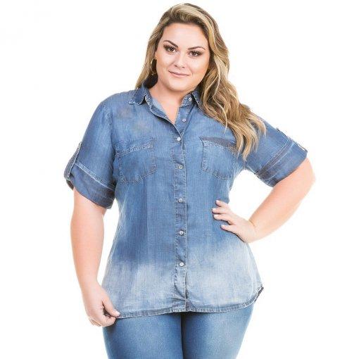 0fadd7b810 Camisa Feminina Jeans Básica Manga Curta Plus Size