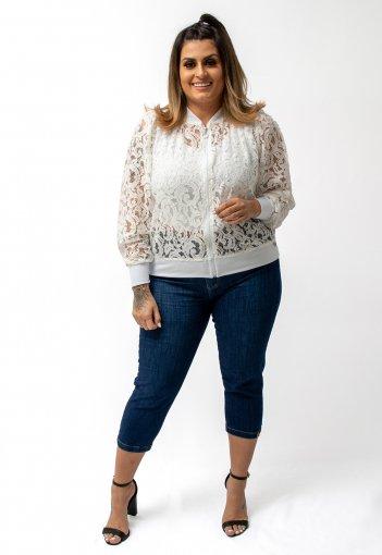 Jaqueta Blusa Feminina Bomber Renda Branca Lycra Plus Size