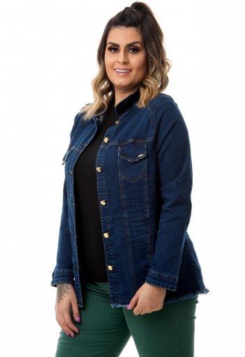 Jaqueta Jeans Feminina Barra Desfiada Plus Size