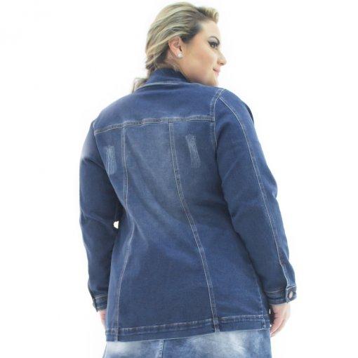 e7183bd7ec Jaqueta Jeans Feminina Over Alongada Plus Size Confidencial Extra