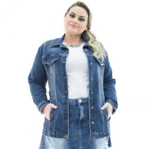 e21351305f Jaqueta Jeans Feminina Over Alongada Plus Size Confidencial Extra