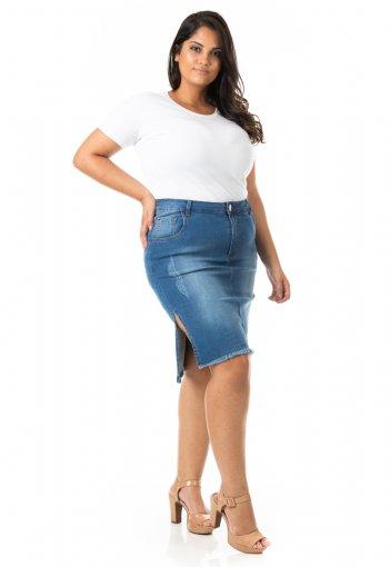 Saia Midi Jeans com Fenda Lateral Plus Size