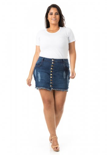 Shorts Saia Feminino Jeans com Abotoamento Plus Size
