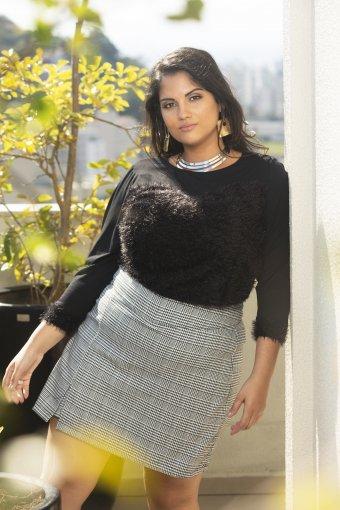 Shorts Saia Feminino Xadrez Plus Size